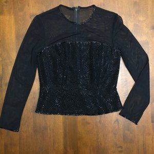 Oleg Cassini Black Tie Beaded Sheer Blouse